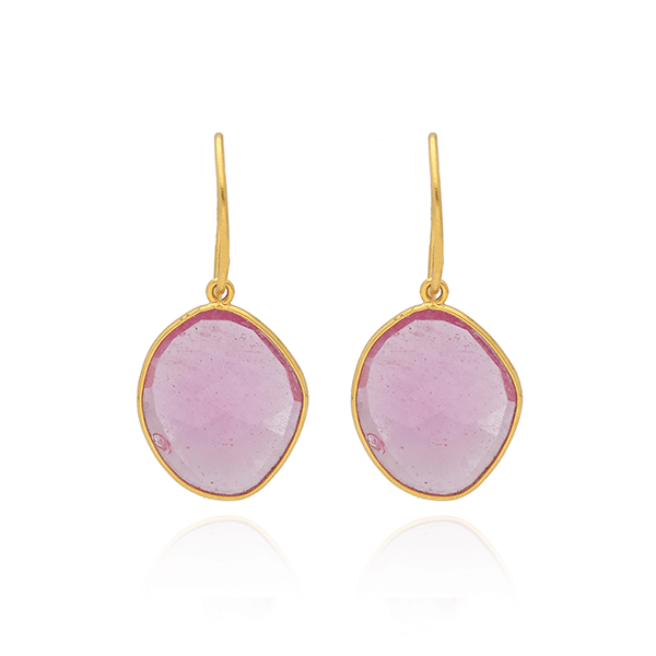 Ruby Drop Gold Earrings