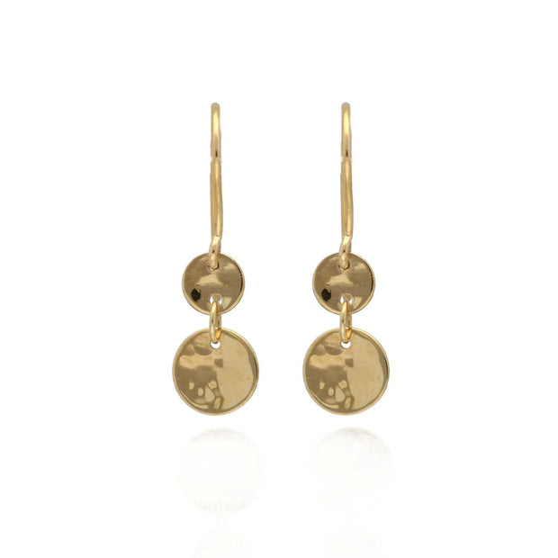 "EC One ""Baby Beat"" 9ct Gold hammered Double Disc Drop Earrings"