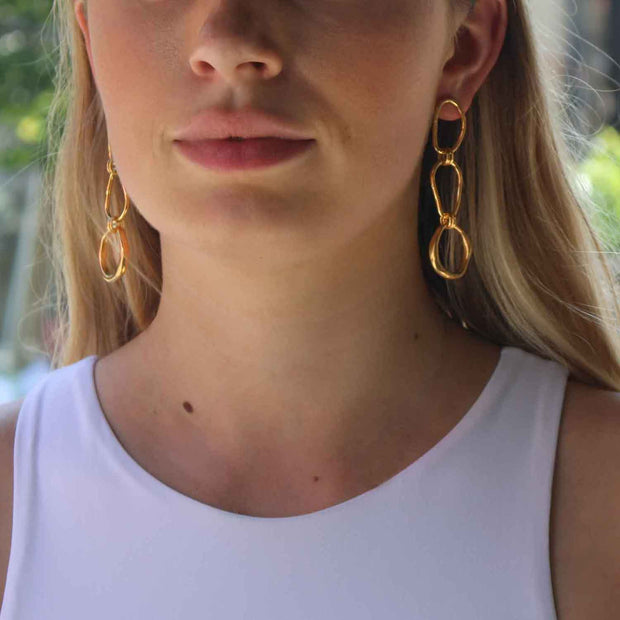 EC One Ella Stern Triple Shape Link Earrings Gold Plated