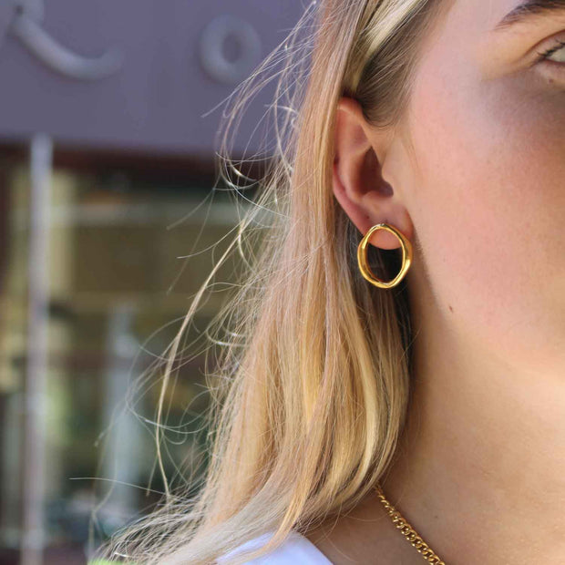 EC One Ella Stern Round Shape Studs Gold Plated
