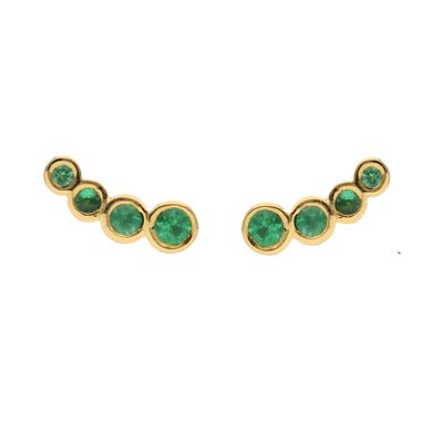 "EC One ""Dainty"" Recycled Yellow Gold and Emerald Stud Earrings"