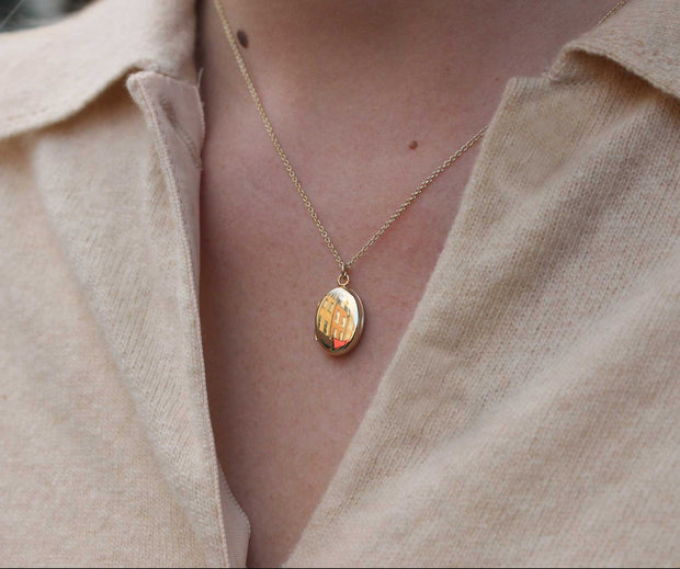 EC One Small Oval Gold Locket Necklace