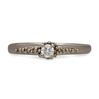 Single Diamond Cluster Ring White Gold