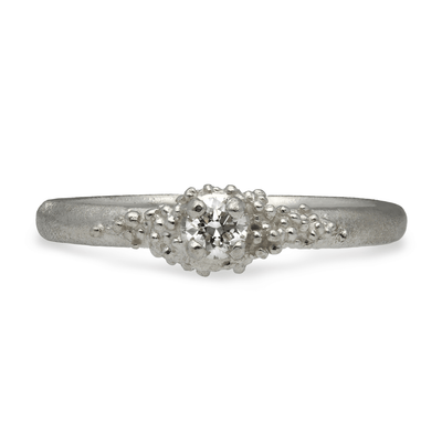 Single Diamond Cluster Ring 9ct White Gold