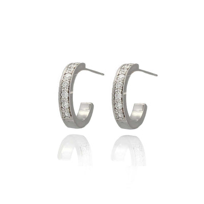 EC One 'Lilly' recycled White Gold Diamond Hoop Earrings