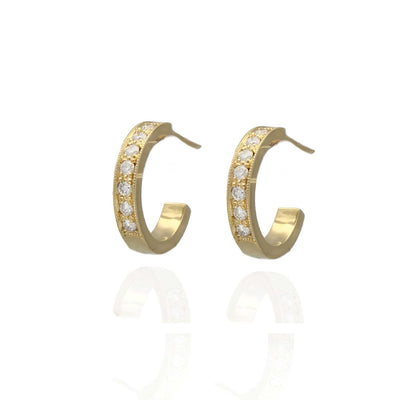 EC One Lilly recycled Yellow Gold Diamond Hoop Earrings