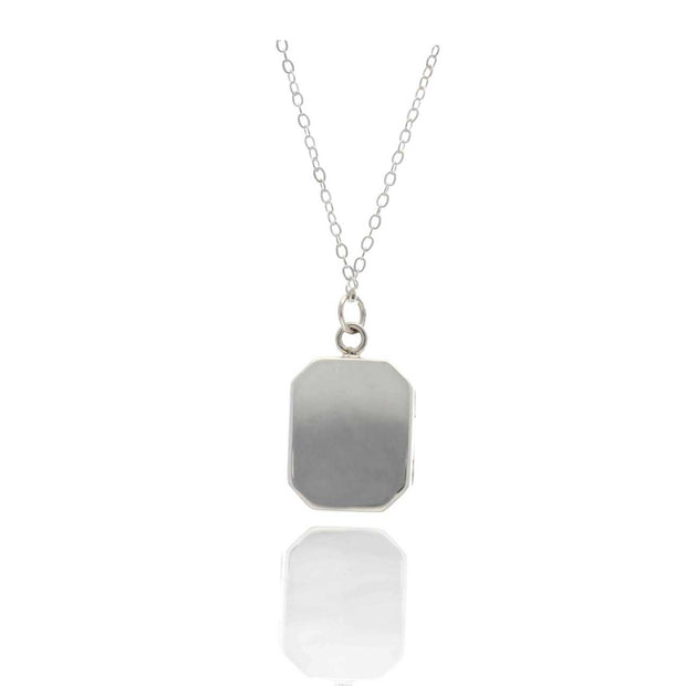 EC One Small Angled Rectangular Silver Locket Necklace