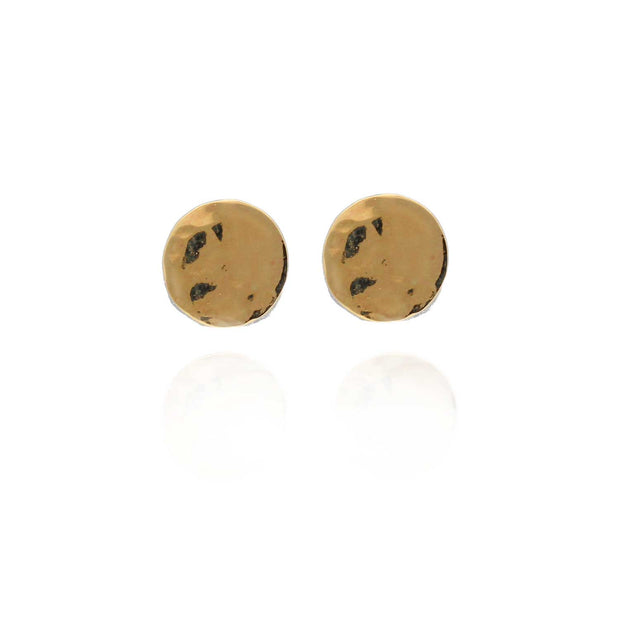 "EC One  ""Baby Beat""  recycled 9ct Gold Small Disc Studs Pair"