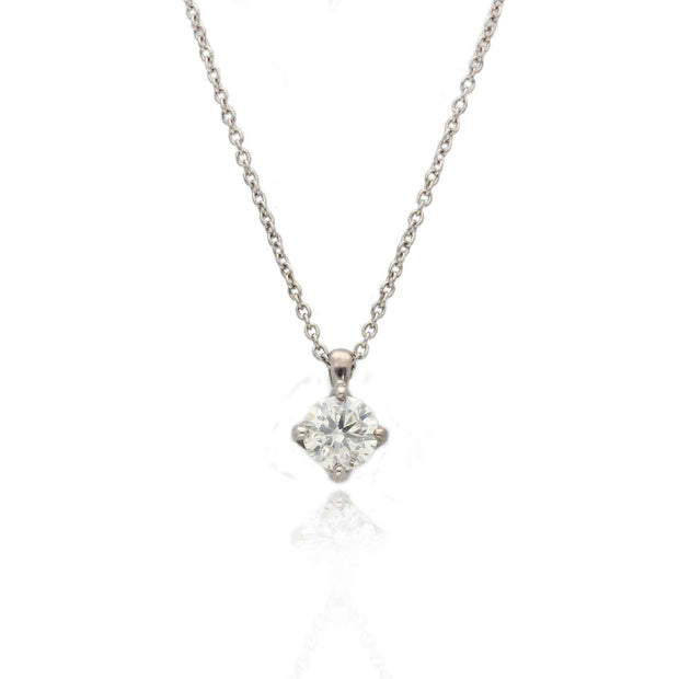 EC One Recycled White gold diamond solitaire necklace