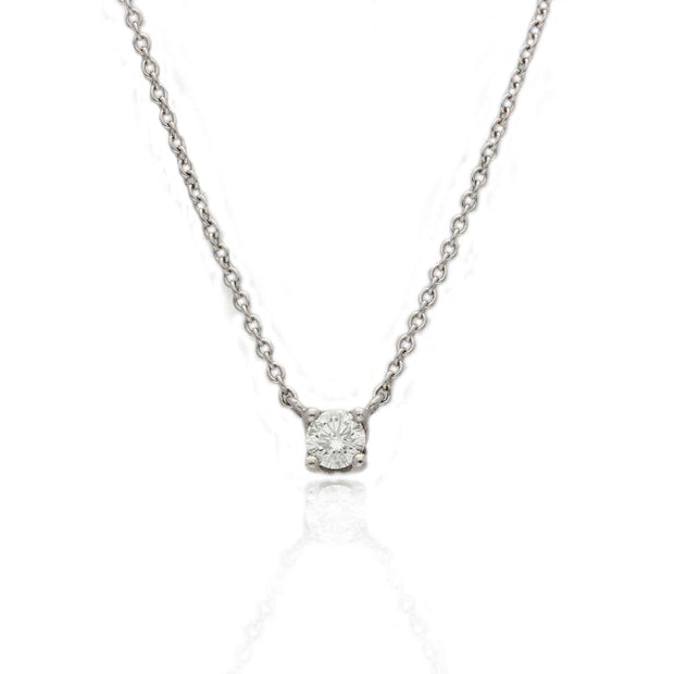 EC One Diamond Solitaire Necklace 0.20ct in recycled 18ct White Gold