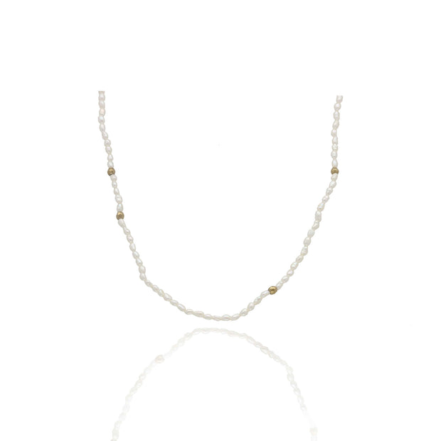 EC One Tiny White Seed Pearl & Pyrite Necklace