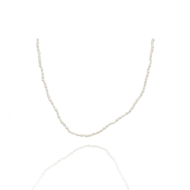 Tiny White Seed Pearl Necklace
