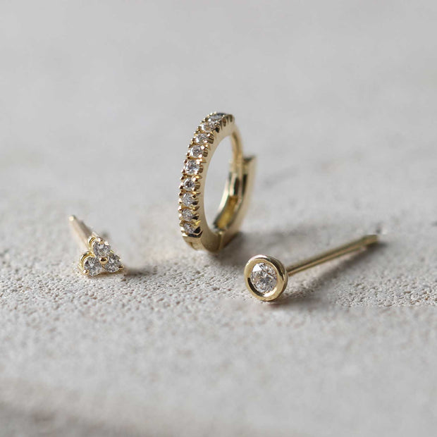 EC一recycled gold diamond  earrings