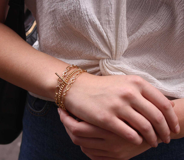 EC One gold plated chain bracelets