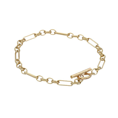 Lighter mixed link chain 9ct Gold T-bar Bracelet