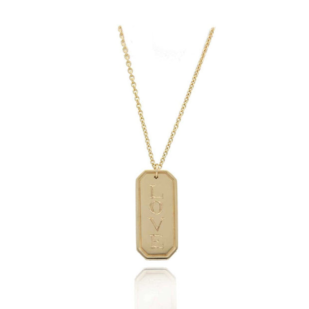 "EC One ""LOVE"" Rectangular Gold Pendant"