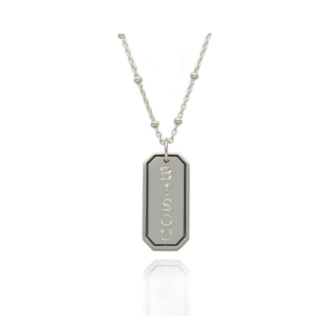 "EC One recycled Silver ""BISOU"" Rectangular Pendant Necklace"