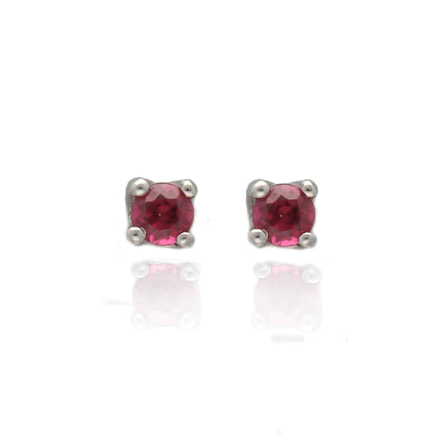 EC One White Gold Ruby Studs