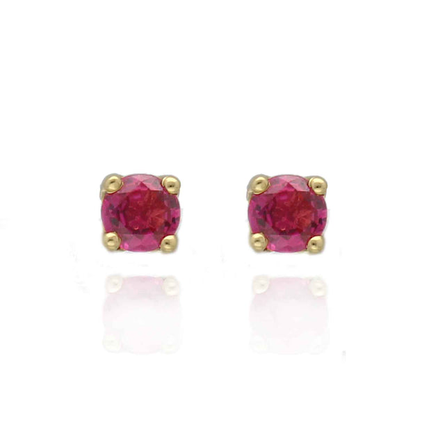 Yellow Gold Ruby Studs