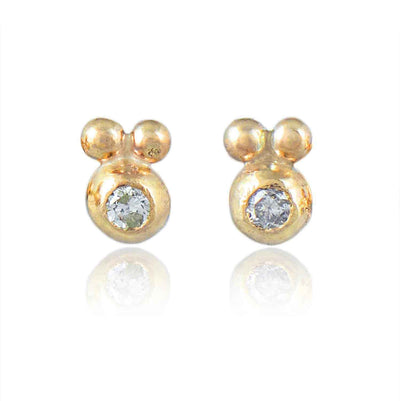 Natalie Perry Dainty Sprue Grey Diamond Studs recycled gold