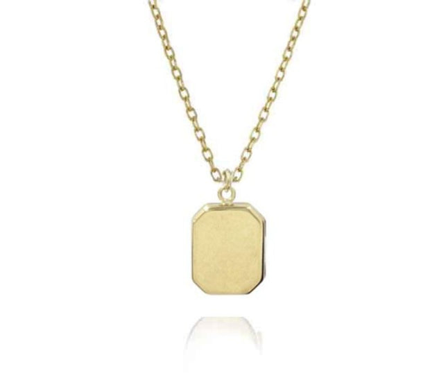EC One recycled Small Angled Rectangular Gold Locket Necklace