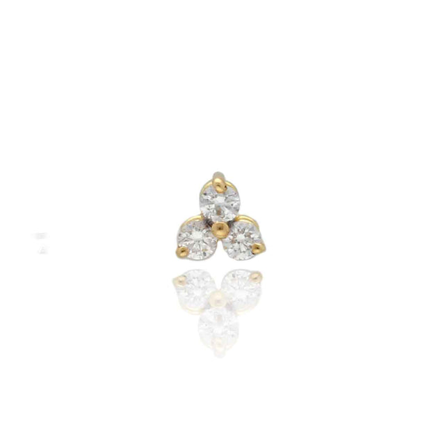 "EC One  Single ""Trio"" Diamond recycled Gold Earring"