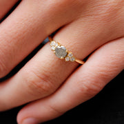 EC One 'Hatty' Yellow recycled Gold Grey salt and pepper Diamond engagement ring