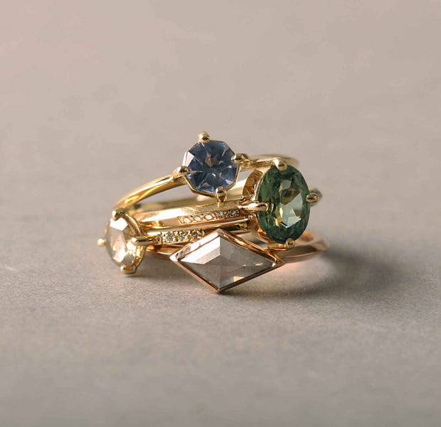 ELLIE AIR x EC ONE - Eta Green Sapphire & Diamond Ring 18ct Yellow Gold