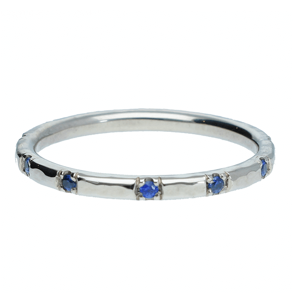 "EC One ""Alice"" Hammered Wedding Ring with Blue Sapphires recycled white gold blue sapphire eternity ring"