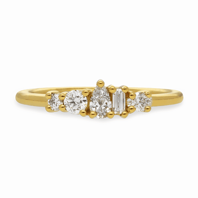 "Medium ""Elise"" 18ct Yellow Gold Ring with Diamonds"
