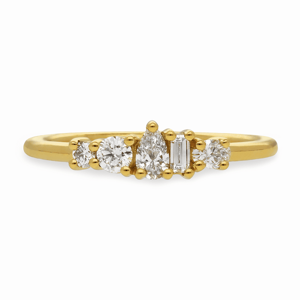 "EC One Medium ""Elise""  recycled 18ct Yellow Gold Ring with Diamonds"