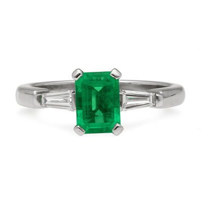 """Ella"" Emerald Diamond Platinum Ring"