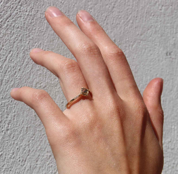 ELLIE AIR x EC ONE - Ode Ring with Brown Rose Cut Diamond 18ct Yellow Gold