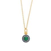 EC One Eye by M Sun Pendant with Emerald & White Sapphires