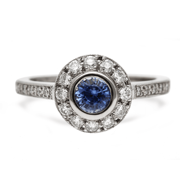 """Emma"" Blue Sapphire and Diamond Halo Engagement Ring"