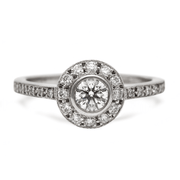 """Emma"" Round Diamond White Gold Halo Engagement Ring"