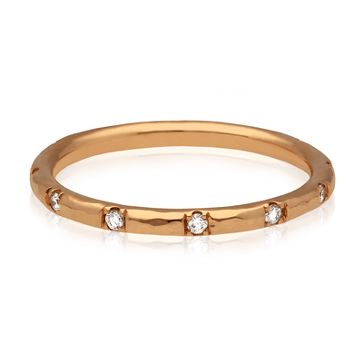 """Alice"" Hammered Diamond Wedding Ring Rose Gold"