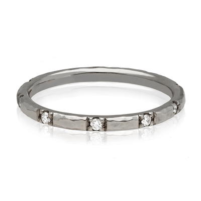 'Alice' Diamond Hammered Eternity Wedding Ring