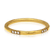 'Alice' Gold Diamond Hammered Wedding Ring