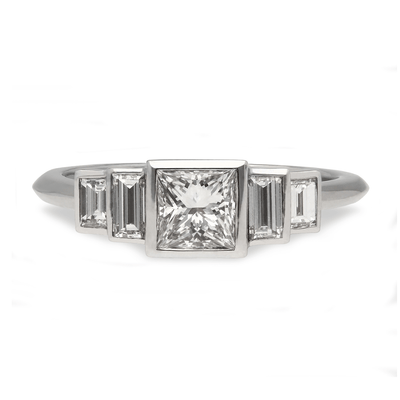"""Evelyn"" Deco Diamond White Gold Engagement Ring"