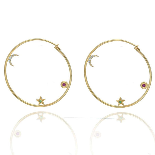 EC One Eye by M Night Circle Hoop Earrings white sapphire ruby tsavorite