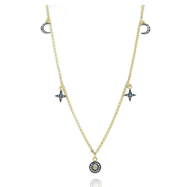 EC One Eye M Space Necklace with Opal and White Sapphire