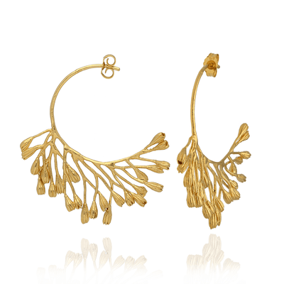 Fanned Seed Pod Hoop Earrings Gold Plated