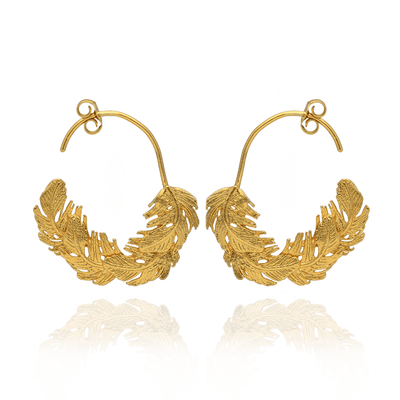 Gold Feather Hoop Earrings
