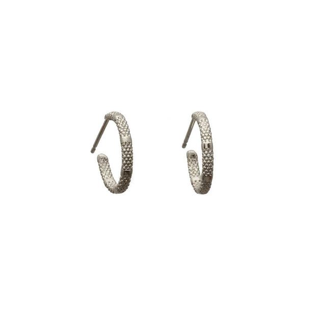 EC One Rosie Kent Fracture Tiny Silver Hoop Earrings
