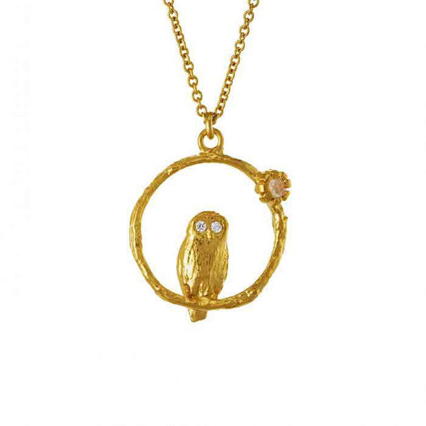 Moonstone Owl Loop Necklace