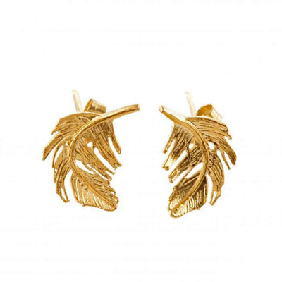 Small Feather Studs Gold Plated