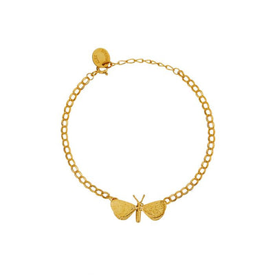 EC One Alex Monroe In-Line Drab Looper Moth Bracelet Gold Plated