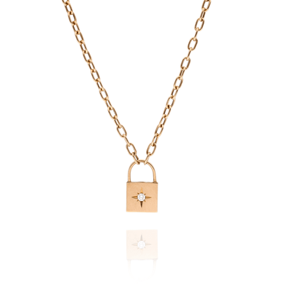 Gold Star-Set Diamond Padlock Necklace