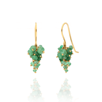 EC One Kate Wood Emerald Bunch Hook Earrings Gold plated
